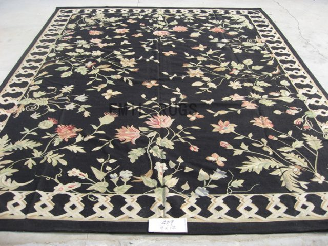 flat weave aubusson carpet 9' X 12' Black Field Black Border 100% New Zealand wool european handmade