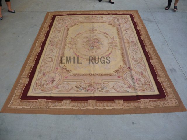 flat weave aubusson rugs 9' X 12' Ivory Field Multi-Colored Border 100% New Zealand wool hand woven