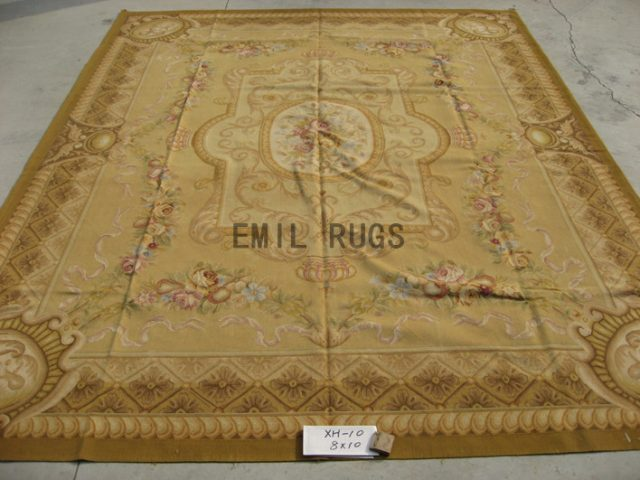 flat weave aubusson carpet 8' X 10' Ivory Field Ivory Border authentic wool french