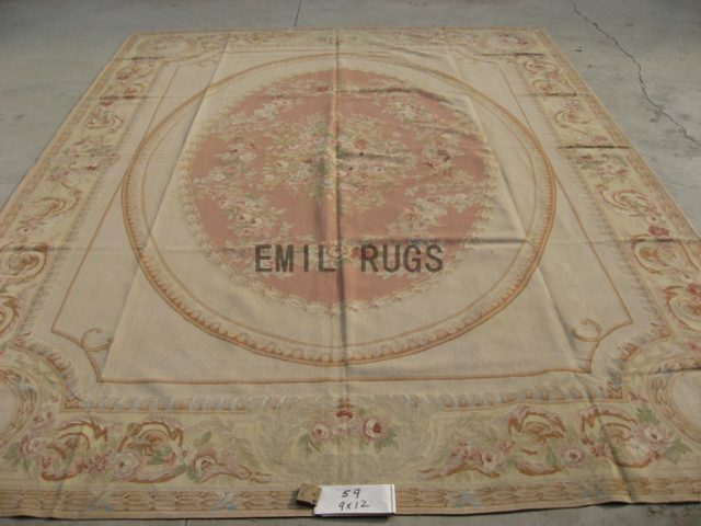 flat weave aubusson rugs 9' X 12' Pink Field Ivory Border hand woven