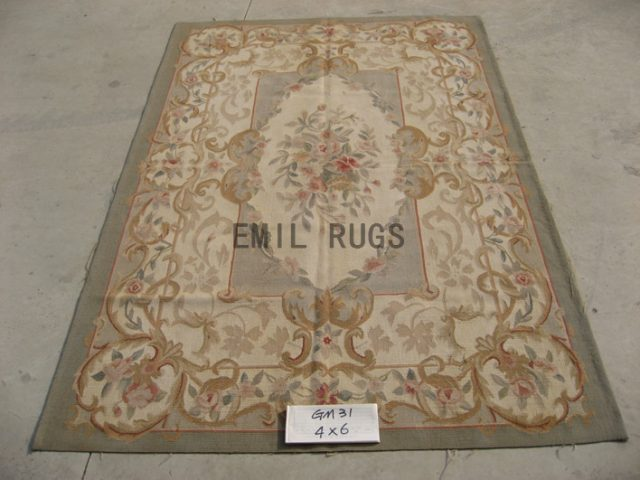flat weave aubusson rugs 4' X 6' Gray Field Ivory Border hand woven