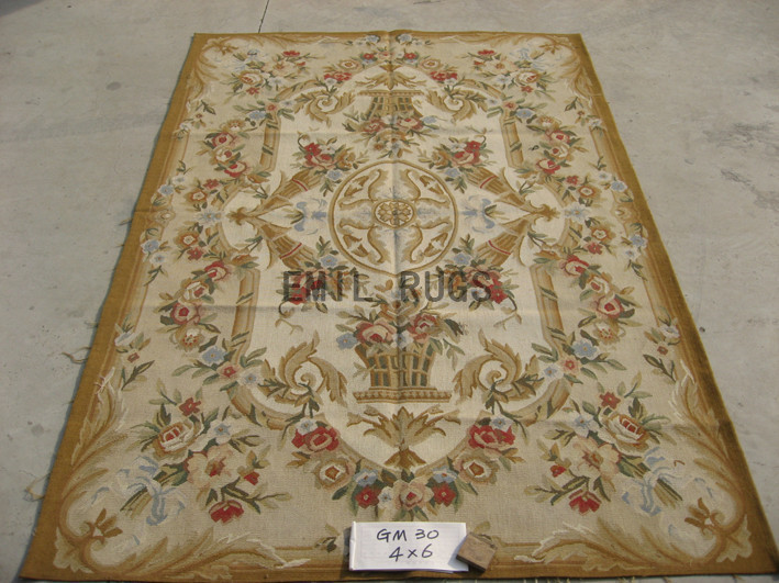 flat weave aubusson rugs 4' X 6' Ivory Field Ivory Border hand woven