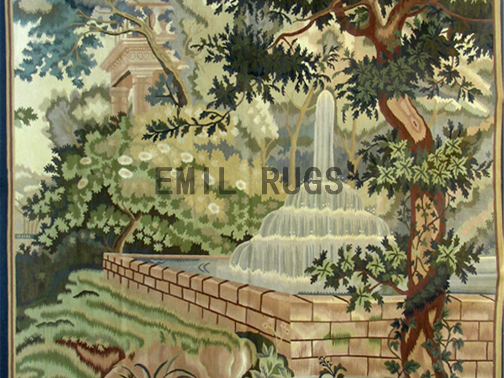 wool vintage flat weave aubusson gobelin 6'x 7.5′ tapestries wall hangings