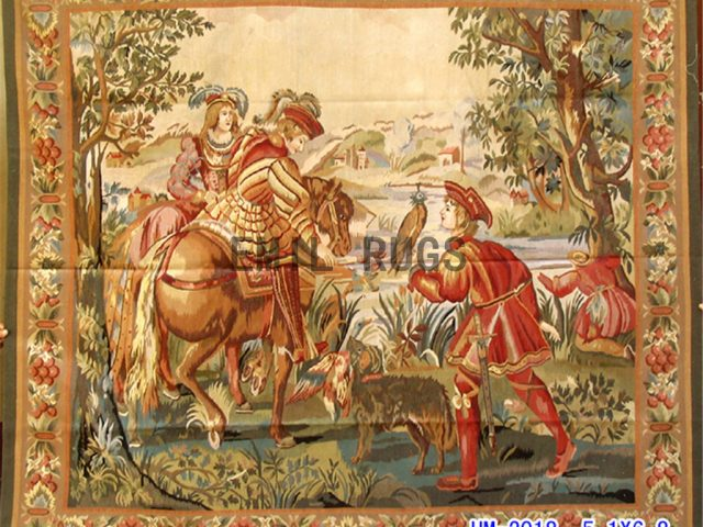 wool antique european french aubusson gobelin 5.1'x 6.8' art tapestries
