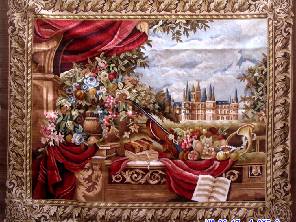 wool vintage flat weave aubusson gobelin 4.8'x 5.6′ tapestry wall hangings