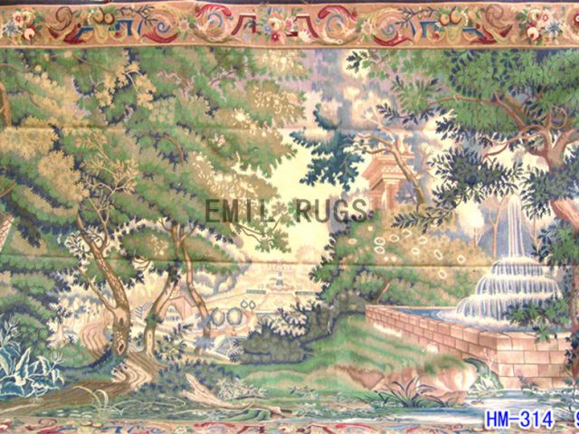 wool antique european french aubusson gobelin 9'x 13.7' wall tapestry