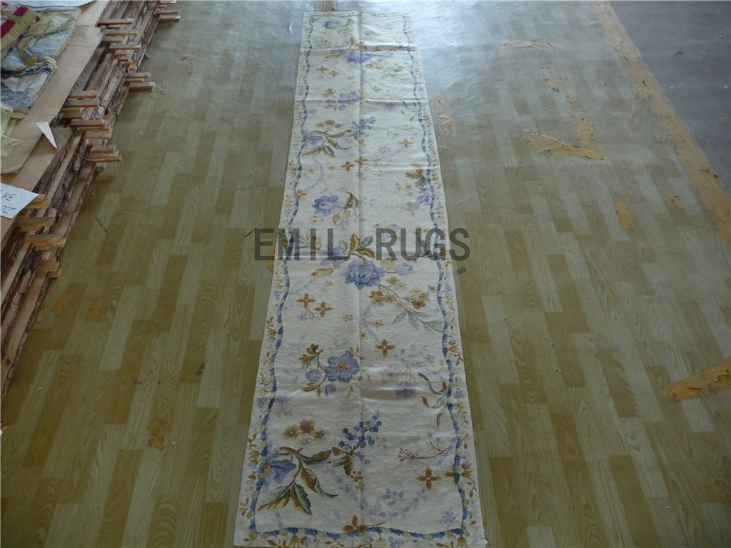 needlepoint area rugs Runner 2.5′ X 12′ Ivory Field Blue Border 100% wool european french hand stitched