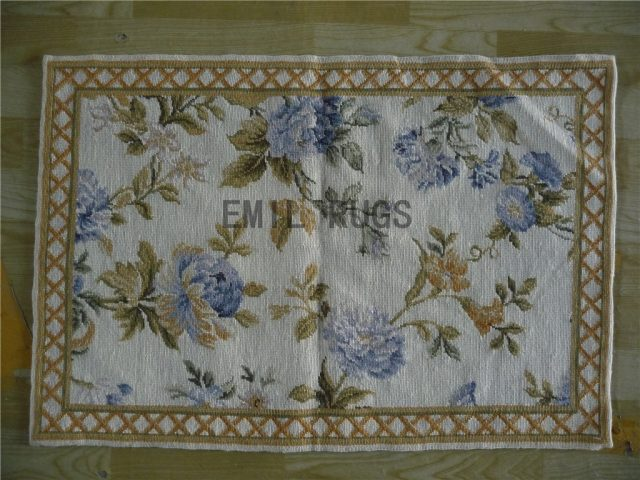 needlepoint area carpets Small Size 2' X 3' Ivory Field Beige Border 100% wool european french handmade