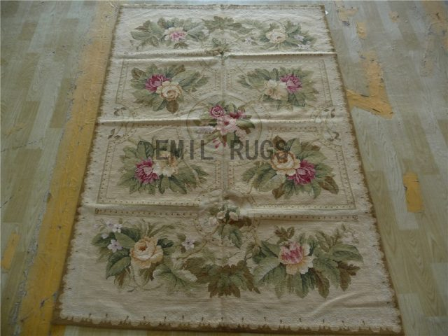 needlepoint area carpets 4' X 6' Ivory Field Beige Border 100% wool european french handmade