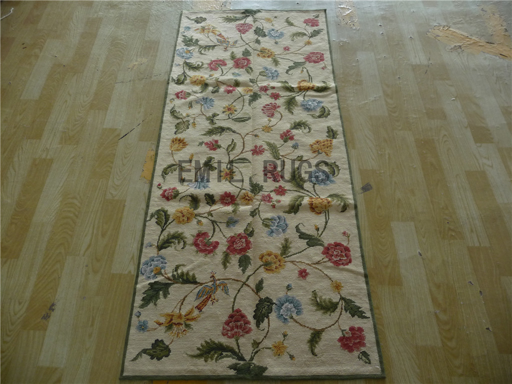 needlepoint area rugs Runner 2.5' X 6' Ivory Field Ivory Border 100% wool european french hand stitched