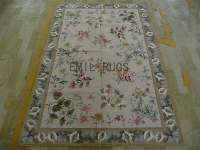needlepoint area rugs 4' X 6' Ivory Field Gray Border 100% wool european french hand stitched