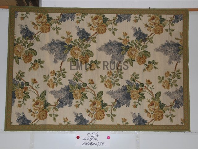 needlepoint area carpets 4' X 6' Ivory Field Green Border 100% wool european french hand stitched