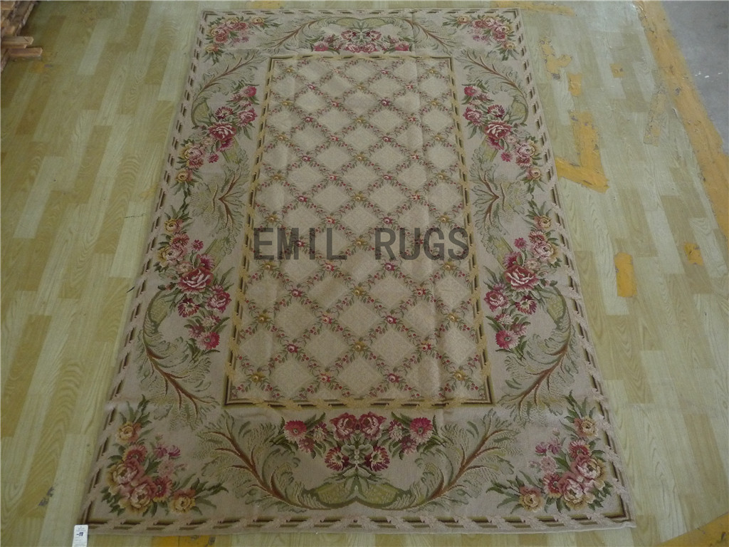 needlepoint area carpets 5' X 8' Ivory Field Green Border 100% wool european french handmade