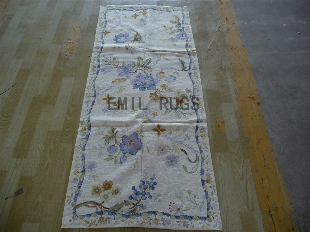 needlepoint rugs Runner 2.5' X 6' Ivory Field Ivory Border 100% wool european french authentic