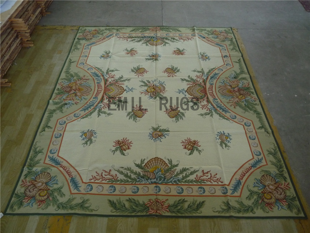 needlepoint carpets 6' X 9' Ivory Field Aqua Border 100% wool european french authentic