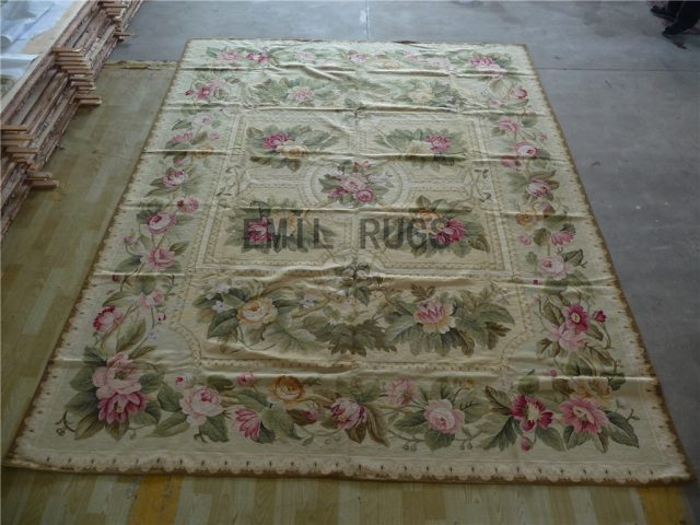 needlepoint area carpets 9' X 12' Ivory Field Gray Border 100% wool european french authentic