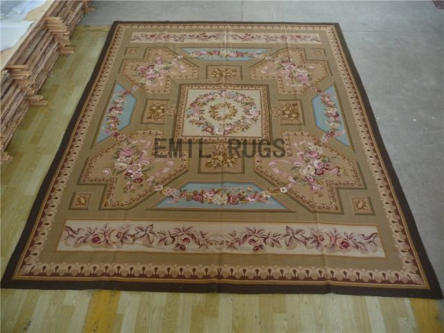 needlepoint area carpets 9' X 12' Beige Field Multi-Colored Border 100% wool european french authentic