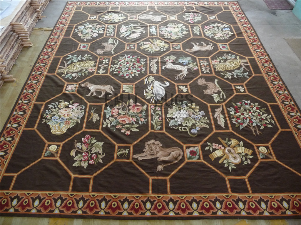 needlepoint area carpets Oversized 12' X 15' Black Field Multi-Colored Border 100% wool european french hand stitched
