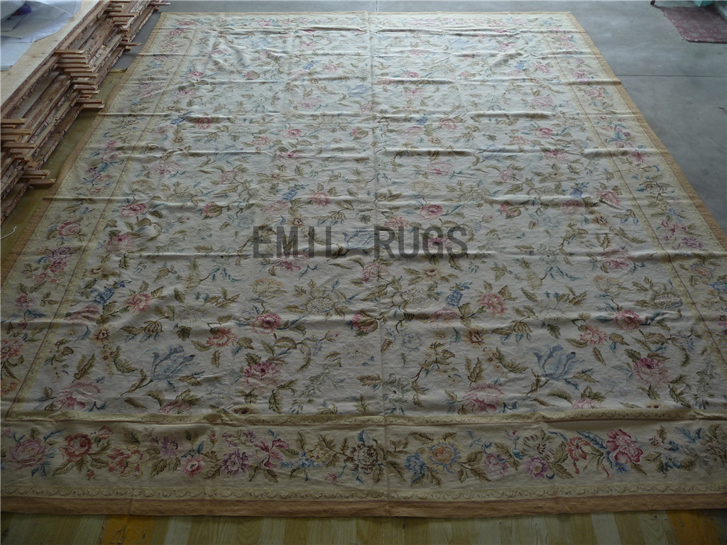 needlepoint area carpets Oversized 12' X 15' Ivory Field Ivory Border 100% wool european french handmade