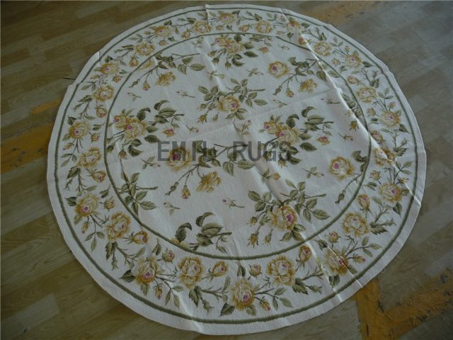 needlepoint area carpets Round 6' X 6' Ivory Field Green Border 100% wool european french hand stitched
