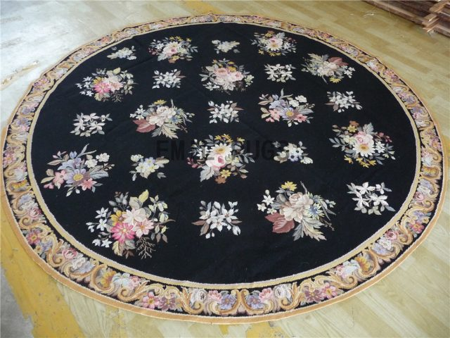 needlepoint rug Round 8' X 8' Black Field Multi-Colored Border 100% wool european french hand stitched