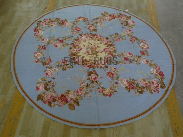 needlepoint area carpets Round 8' X 8' Blue Field Beige Border 100% wool european french hand stitched