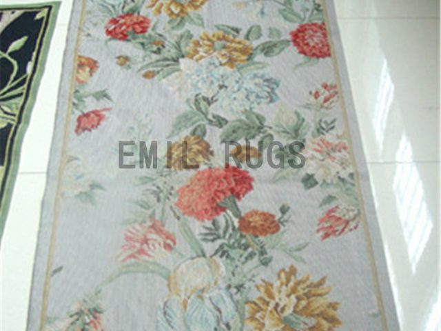needlepoint rug Small Size 2.4' X 4.4' Ivory Field Ivory Border authentic