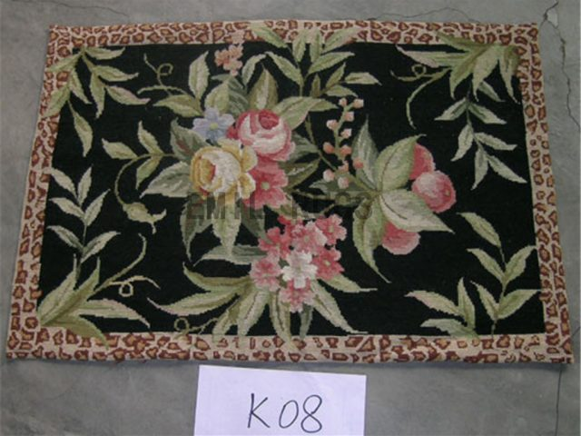 needlepoint carpets Small Size 2' X 3' Black Field Ivory Border authentic
