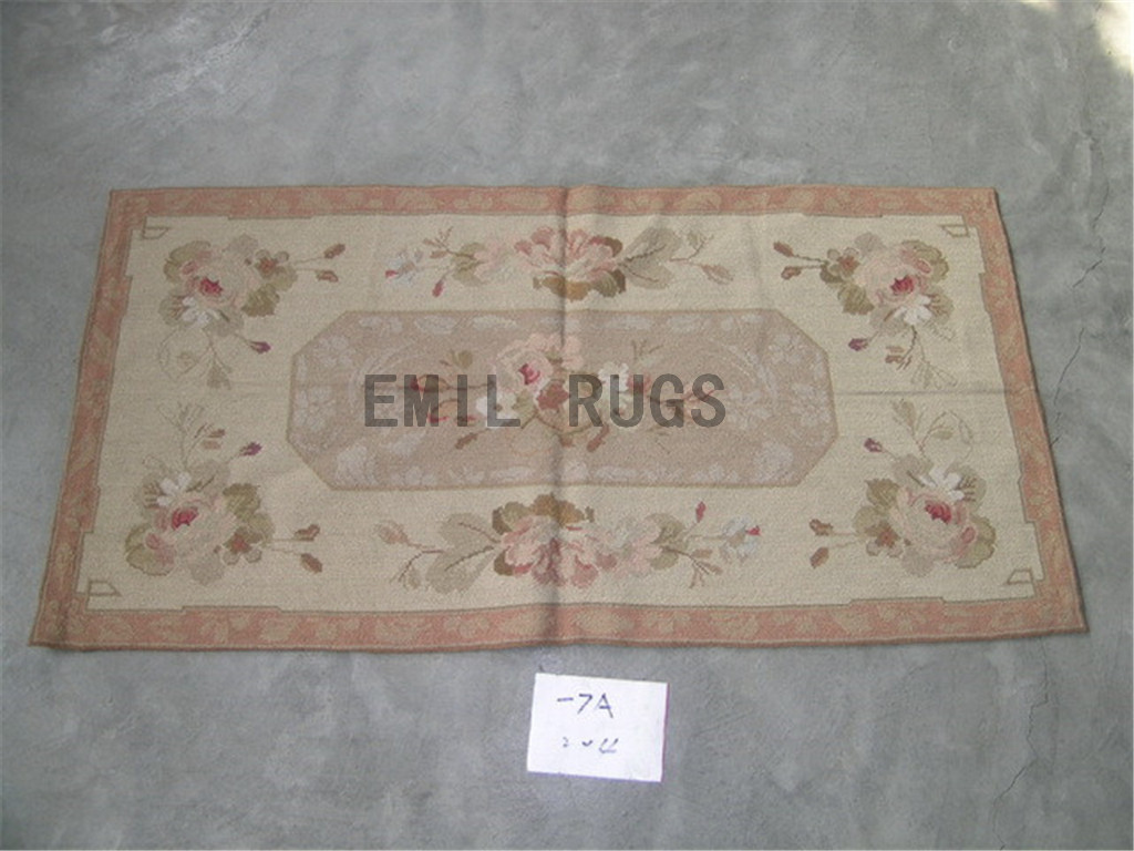 needlepoint carpets Small Size 2' X 4' Ivory Field Brown Border handmade