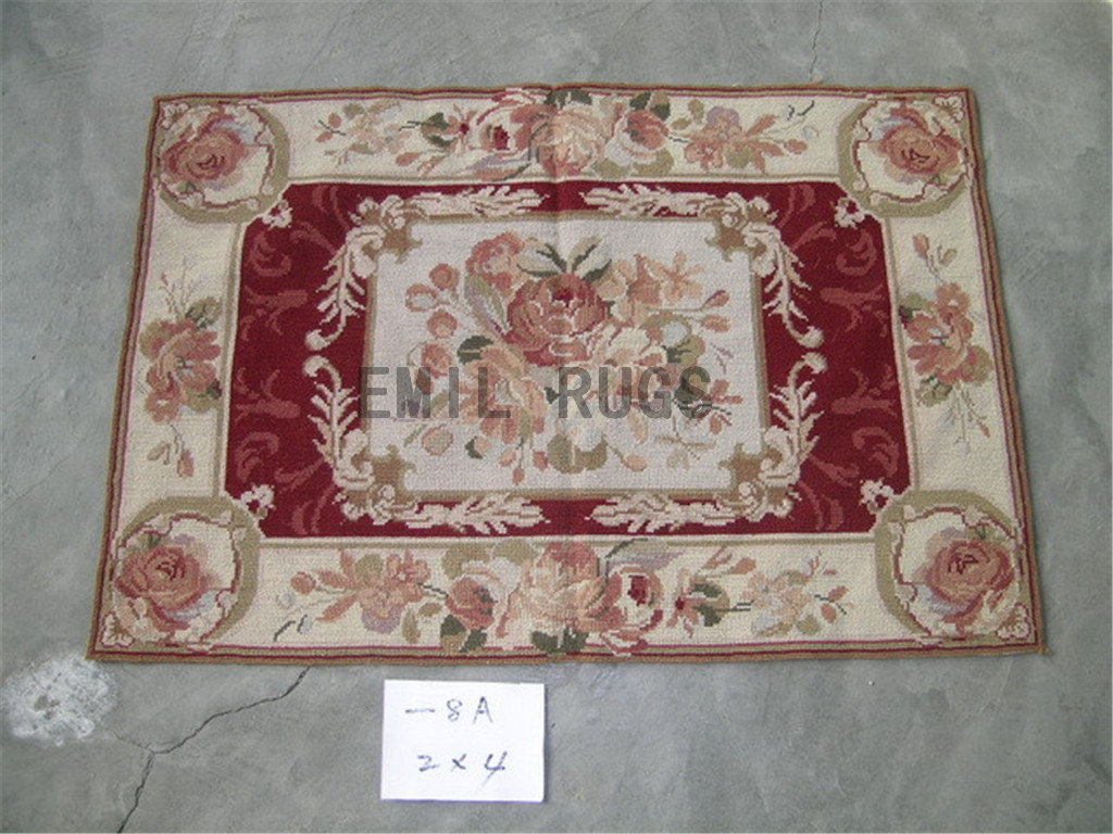 needlepoint carpets Small Size 2' X 4' Red Field Ivory Border hand stitched