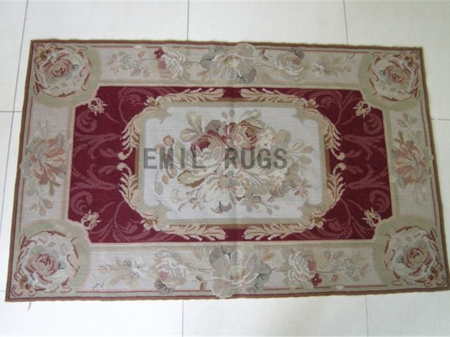 needlepoint carpet Small Size 2' X 4' Red Field Ivory Border hand stitched
