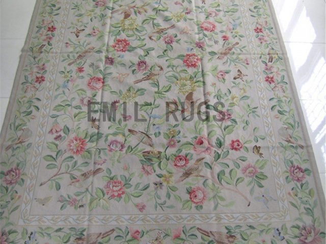 needlepoint rugs Small Size 2.4' X 3.9' Ivory Field Ivory Border hand stitched