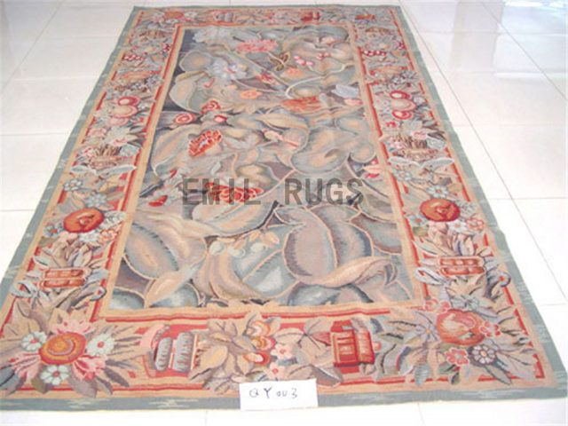 needlepoint rugs 5' X 9' Multi-Colored Field Multi-Colored Border authentic