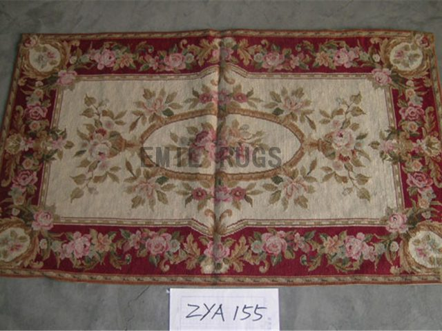needlepoint carpets Small Size 2'.4 X 3.9' Ivory Field Red Border authentic
