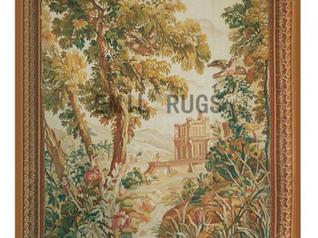 wool antique flat weave aubusson gobelin 5.1' X 7.1' art tapestry