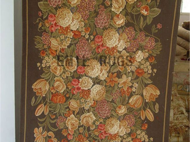wool antique flat weave aubusson gobelin 5' X 6' art tapestry