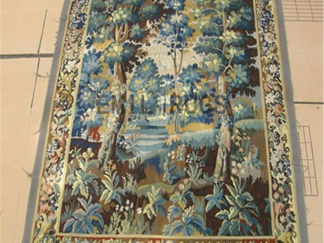 wool antique european french aubusson gobelin 5' X 7.1' wall tapestry