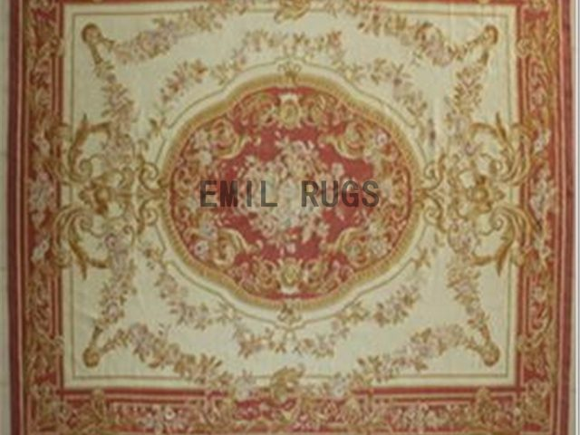 flat weave aubusson carpet 9' X 12' Ivory Field Red Border 100% New Zealand wool hand woven