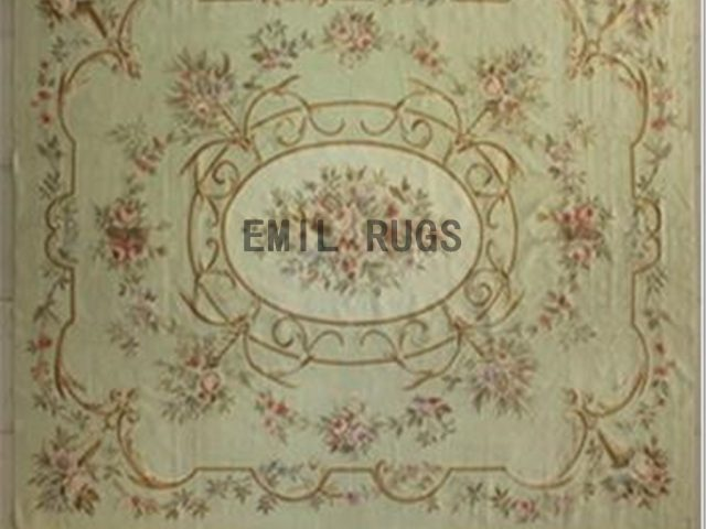 flat weave aubusson rugs 9' X 12' Ivory Field Ivory Border authentic 100% New Zealand wool french