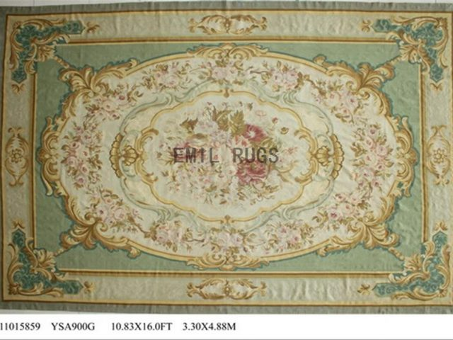 flat weave aubusson rug Oversized 10.8' X 16' Ivory Field Ivory Border 100% New Zealand wool european handmade