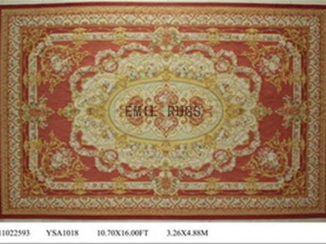 flat weave aubusson rug Oversized 10.8' X 16' Red Field Ivory Border 100% New Zealand wool european handmade