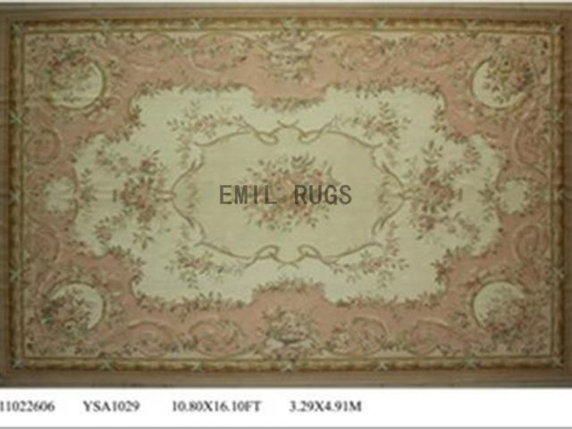 flat weave aubusson rugs Oversized 10.8' X 16' Ivory Field Pink Border 100% New Zealand wool european handmade