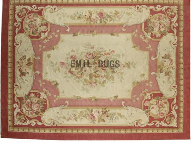 flat weave aubusson carpets 10' X 13' Pink Field Ivory Border 100% New Zealand wool european handmade