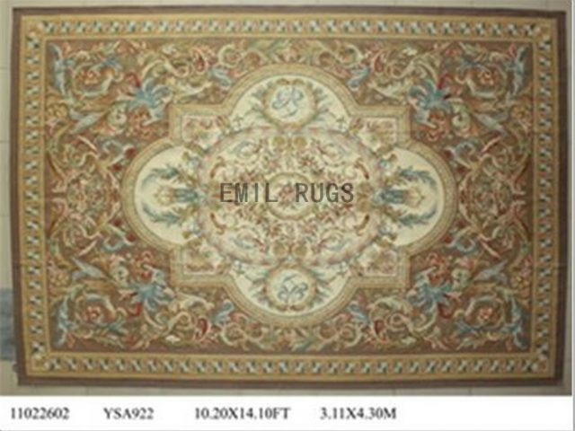 flat weave aubusson carpet Oversized 10' X 14' Brown Field Brown Border 100% New Zealand wool european handmade