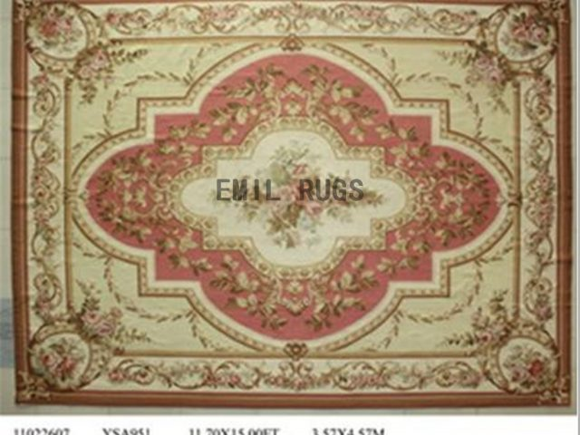 flat weave aubusson carpets Oversized 11.7' X 15' Pink Field Ivory Border 100% New Zealand wool hand woven