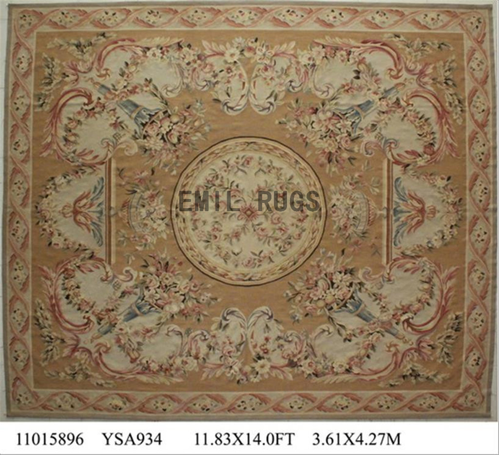 Flat Weave Aubusson Rugs Oversized 11.8u2032 X 14u2032 Beige Field Beige Border  Authentic 100% New Zealand Wool French Gc4aub144