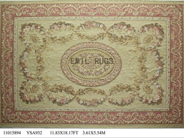 flat weave aubusson rug Oversized 11.8' X 18' Ivory Field Pink Border 100% New Zealand wool hand woven
