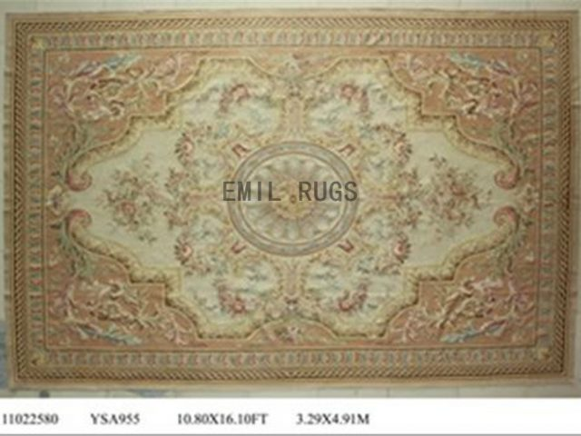 flat weave aubusson carpet Oversized 11' X 16' Ivory Field Pink Border authentic 100% New Zealand wool french