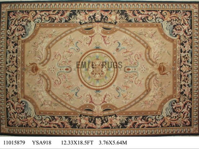 flat weave aubusson rugs Oversized 12.3' X 18.5' Beige Field Black Border authentic 100% New Zealand wool french
