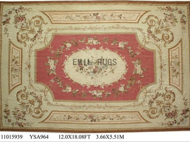 flat weave aubusson carpet Oversized 12.3' X 18.5' Pink Field Ivory Border 100% New Zealand wool hand woven